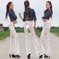 Novas mulheres sexy ver através de rendas calças flare calças pacote de quadril perna transparente elástico oco erotic lingerie club wear fx1039