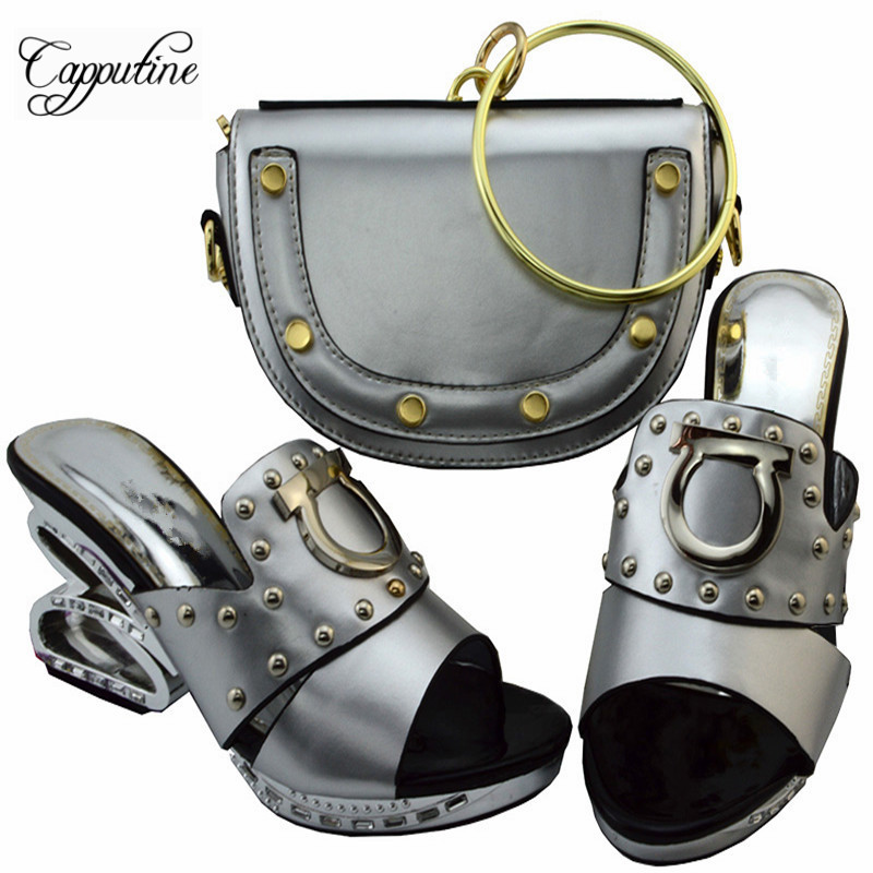 Capputine Italian PU Leather Shoes With Matching Bags Set High Quality Women High Heels Shoes And Bag Sets For Party YM003 capputine new arrival fashion shoes and bag set high quality italian style woman high heels shoes and bags set for wedding party