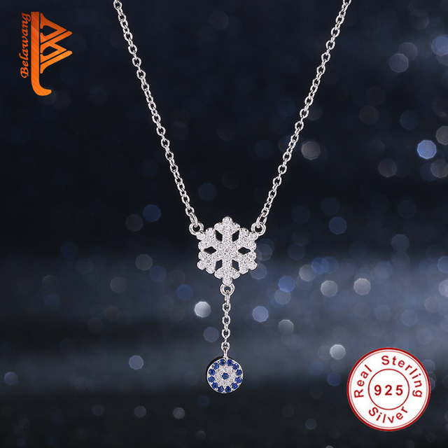 Authentic 925 Sterling Silver Blue Evil Eye Crystal Snowflake Necklace Pendant Crystal Charm Necklace For Women Jewelry