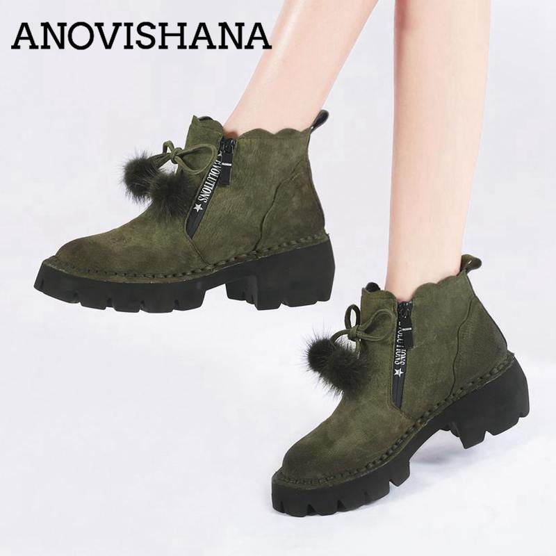 ANOVISHANAV Genuine leather boots women boots winter shoes woman ankle boots bowtie short boot footwear botas