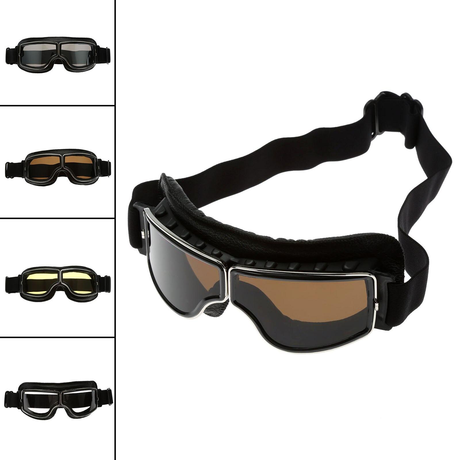 Retro Motorcycle Goggles Motocross Helmet Glasses UV Protection Ski Snowboard Skate Goggle Retro Eyewear Lens Leather