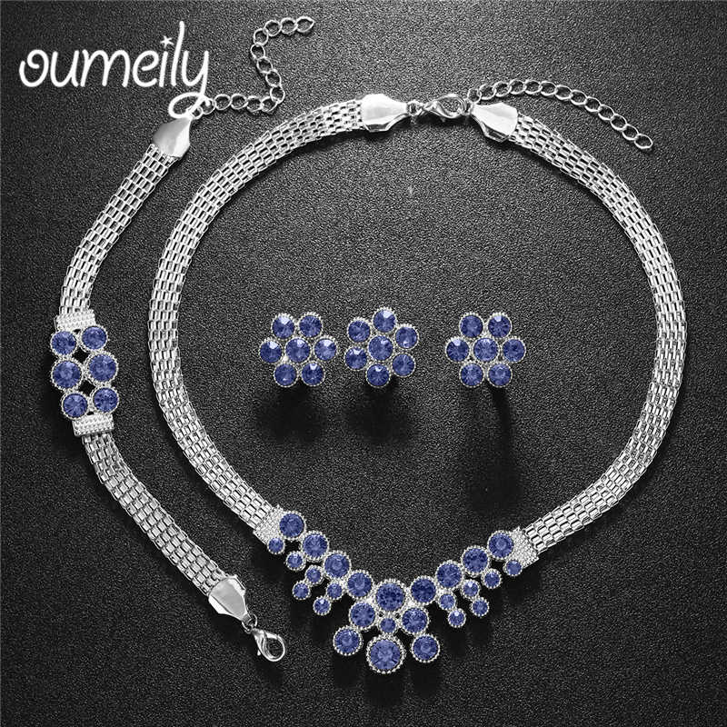 OUMEILY Dubai African Beads Jewelry Set for Women Wedding Silver Gold Color Indian Bridal Turkish Flower Jewelry Sets