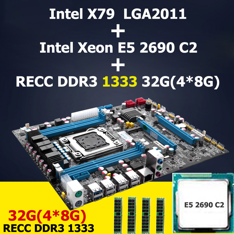 HUANAN X79 LGA 2011 motherboard CPU Intel Xeon E5 2690 C2 memory (4*8)32G DDR3 REG ECC 4 channels 2 years warranty original e5 2670 cpu 20m cache 2 60 ghz 8 00 gt s intelqpi ga 2011 srokx c2 suitable x79 motherboard