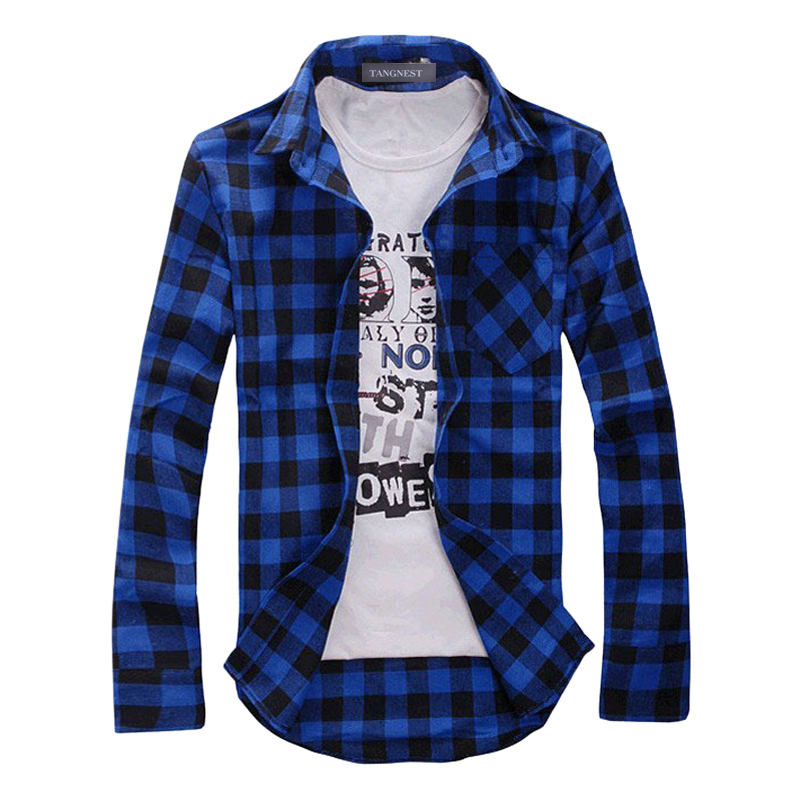 2019 New Autumn Fashion Mens Plaid Shirt Casual Long Sleeve Slim Fit Check Shirts Leisure Style Male Clothes 5 Colors M-XXL 30