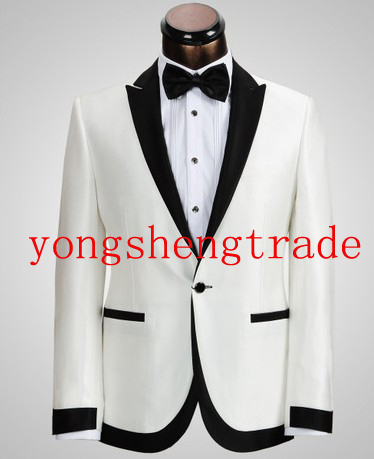 Best Selling Custom Made Wedding Suits Best Man Groomsmen Wedding Suit Design Dinner Jacket Tuxedo (Jacket+Pants) Ivory MS0312