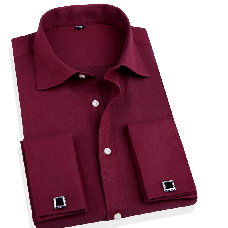 Fashion Men Business Shirts French Cuff Button Men Dress