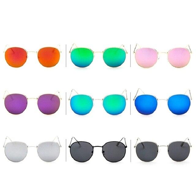 9ea60f62929 Fashion Retro Small Round Sunglasses Men Women Vintage Metal Frame Pink  Mirror Sun Glasses Female UV400