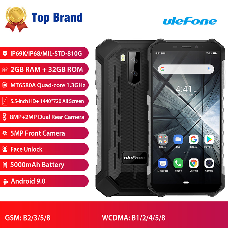 Ulefone Armor X3 Rugged phones Android 9.0 IP68/IP69K Waterproof 2GB 32GB MT6580 5.5 inch HD+ 8MP 5000mAh face ID 3G Smartphone(Hong Kong,China)