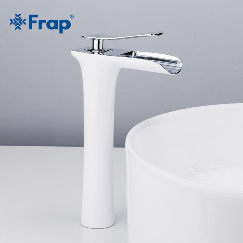 Frap New Arrival High White Spray Painting waterfall bathroom Basin Taps Bath sink faucet water mixer Crane Torneira F1052-53