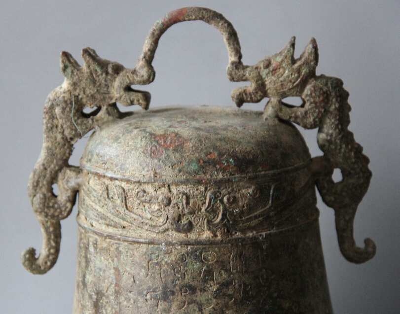 Elegant old S5983 10 Archaic Chinese Dynasty Palace Bronze Two Dragon Temple hanging Bell Zhong statue (A0322) A0403 - 2