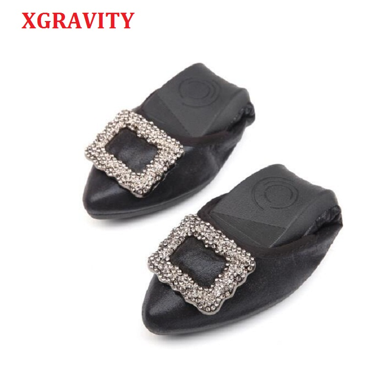 XGRAVITY 2018 Crystal Flats Ballet Flat Shoes Rhinestone Women Spring Autumn Butterfly Pointed Toe Golden Shoes Flats A032 все цены