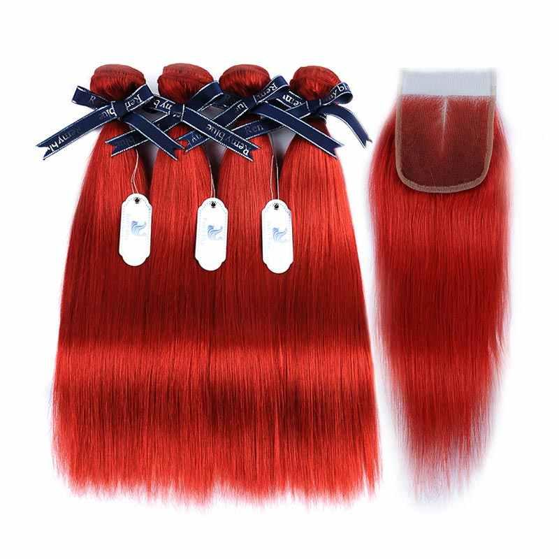 Реми синие волосы бордовый Связки с закрытием прямо бразильский волос 4 Связки с закрытием красный Remy натуральные волосы ткань расширения