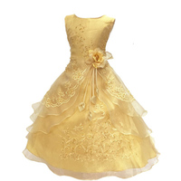 Retail New Flower Girls Princess Dress Girl Wedding Embroidered Formal Dress Girl Christmas Ball Gown Dresses WL645
