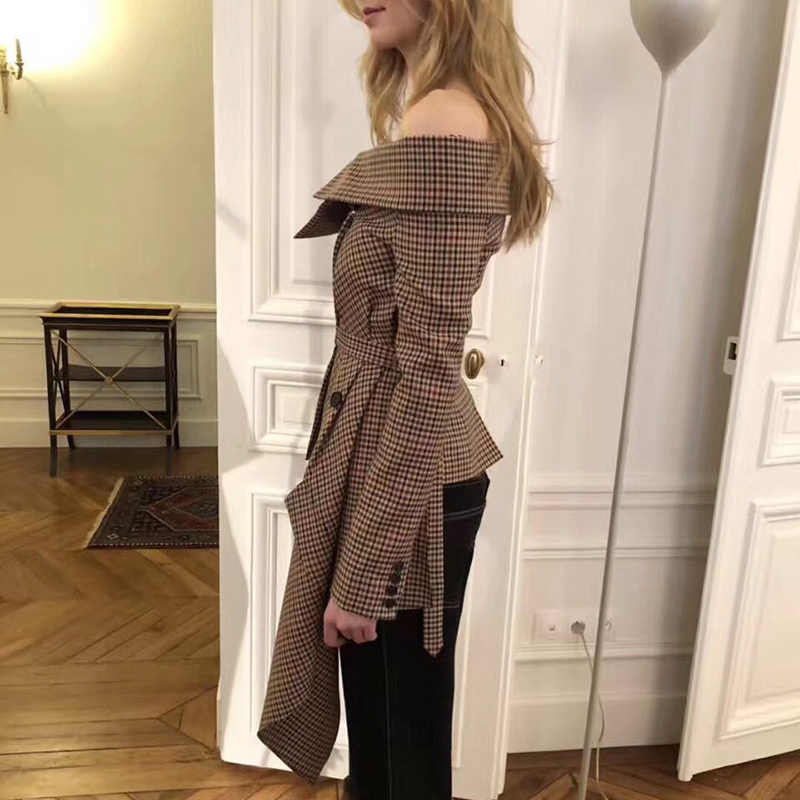 TWOTWINSTYLE Ekose Blazer Tops Kadın Düzensiz Patchwork Slash Boyun Uzun Kollu dantel Kadın Ceket Ceket 2019 Sonbahar Moda