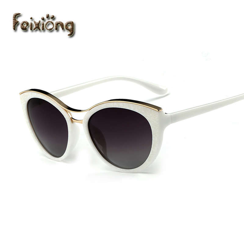 feixiong new fashion cat eye sunglasses women white frame gradient polarized sun glasses driving uv400 aluminium