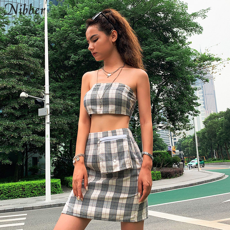 Nibber fashion High street leisure skitts womens Tube top 2two pieces sets2019summer plaid print wild bag decoration skirts sets in Women 39 s Sets from Women 39 s Clothing
