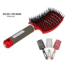 Массажная расческа для волос, расческа для волос, нейлоновая щетина, Женская влажная кудрявая расческа для волос, для салона, парикмахерские инструменты для укладки
