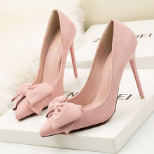 Ou Mo brand women's High heels 10cm pointed toe Shallow mouth sandals Female Suede Sexy bow-knot wedding banquet shoes