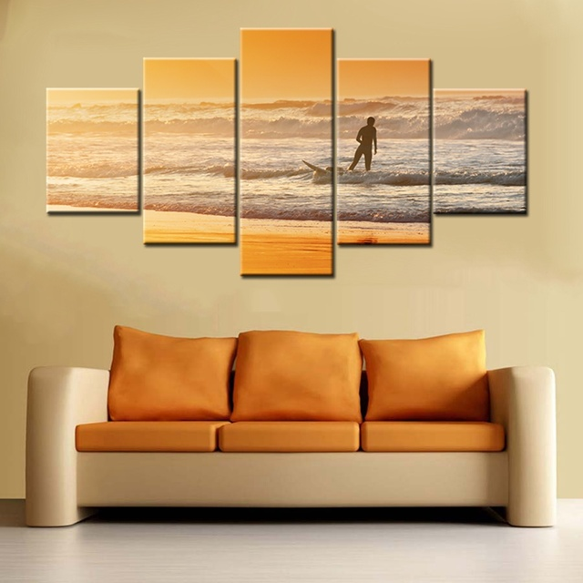 Red Dusk Wall Art Canvas People Holding Surfboard Stands On The ...