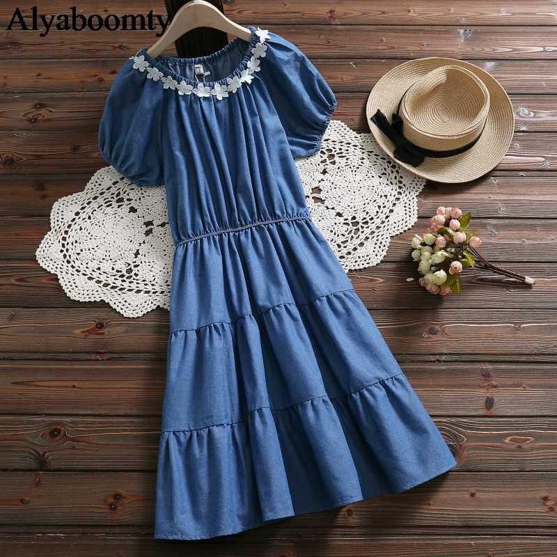 Новый японский школьный стиль; Лето Женское многослойное платье синие джинсовые цветы элегантное многослойное платье Mori милые девочки Kawaii платье с оборками