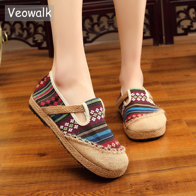 5f10b211c Veowalk Vegan Handmade Embroidered Women Linen Cotton Harajuku Shoes  Beathable Slip-on Espadrilles Loafers Hemp