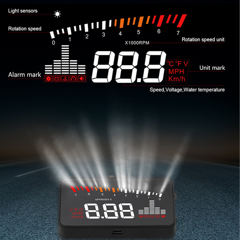 Image 3 - GEYIREN 2019 X5 OBD2 Head Up Display Speedometer Windshield Projector RPM Speed Alarm Car EU OBD HUD Display Auto Electronic-in Head-up Display from Automobiles & Motorcycles