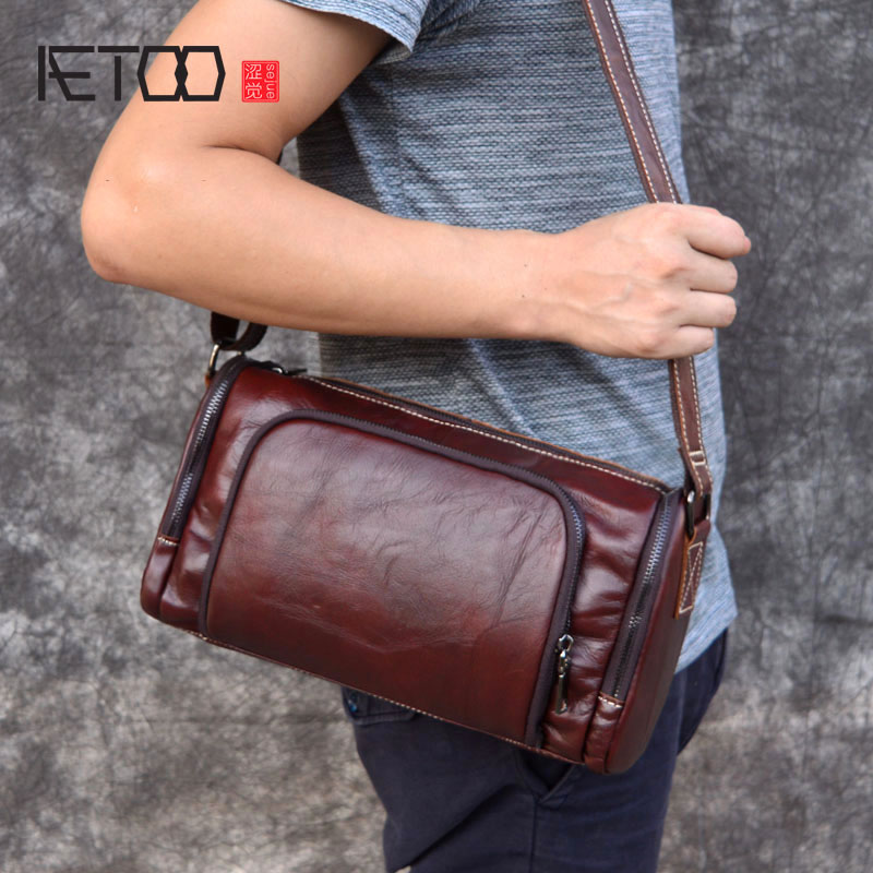 AETOO Original retro rough head layer cowhide leather crazy horse skin oil wax barrel bag shoulder bag Messenger bag men and wom цена