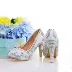 Туфли лодочки; женская свадебная обувь с жемчугом; белые туфли на высоком каблуке с украшением в виде кристаллов; пикантные женские свадебные туфли с круглым носком; женская обувь для вечеринок со стразами - 3