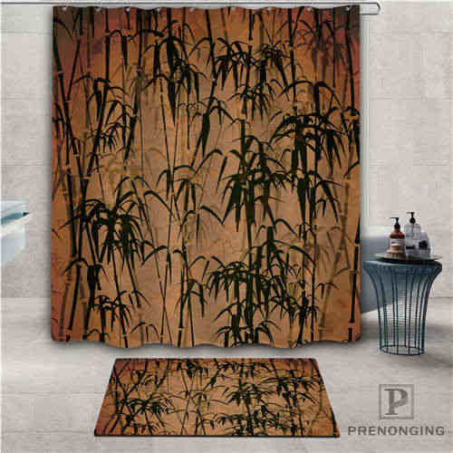 Niestandardowy bambusa (1) wodoodporny prysznic kurtyny wycieraczka Home Bath łazienka tkanina poliestrowa Multi rozmiary #2019-01-12-184