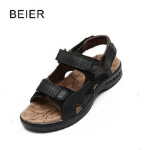 2017 Summer New Men's Sandals Genuine Leather Cowhide Mens Flats Slippers Outdoor Man Beach Shoes Size 39-44