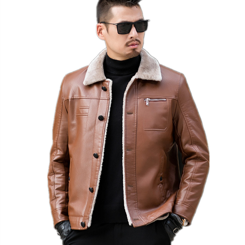Plus size Warm Winter Sheepskin Men's Leather jacket Men Leisure coat Men Fur Lining Jackets Motorcycle Biker Outerwear Parka
