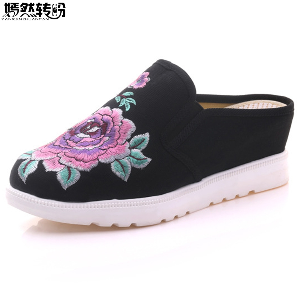 Women Slippers Peony Embroidered Canvas Old BeiJing Slip On Slope Shoes Fabric Casual Sandals Soft Shoes Woman Chinelo Feminino vintage women flats old beijing mary jane casual flower embroidered cloth soft canvas dance ballet shoes woman zapatos de mujer