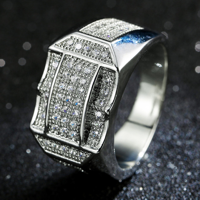 14K White Gold 925 Sterling Silver Hot Fashion Big Inlaid Zircon Diamond Close Rings for Men Jewelry Yellow Gold Geometric Type
