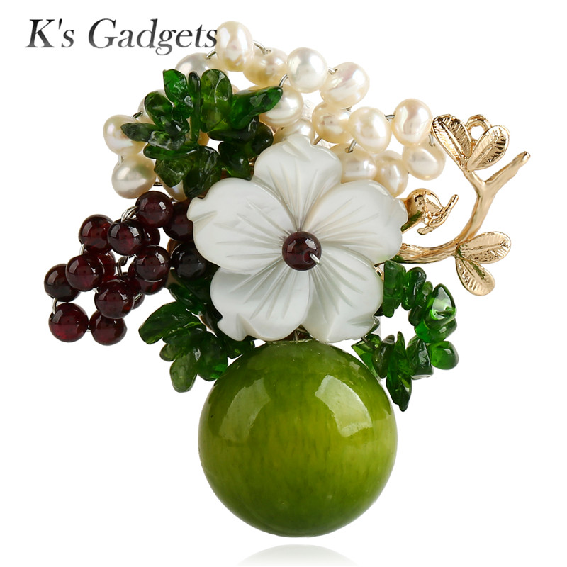 K's Gadgets Green/Blue With Natural Stones Safety Pin Brooch Shell Flowers Simulated Pearl Fashion Handmade Large Brooches Women