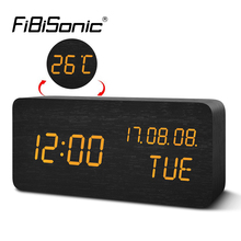FiBiSonic Digital LED Alarm Clock Electronic Desktop Table Clock Display Temperature Alarm Clocks YY MM DD