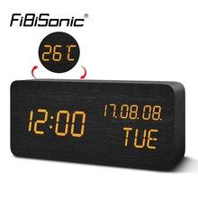 FiBiSonic דיגיטלי LED מעורר שעון אלקטרוני שולחן העבודה שולחן שעון מעוררים טמפרטורת תצוגת YY MM DD