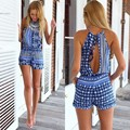 Stylish Lady Sexy Women Halter Off-shoulder Back Hollow High Waist Short Jumpsuit