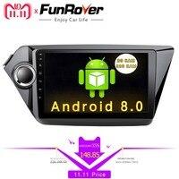 FUNROVER 2din Android 8,0 Автомобильный dvd Радио для Kia k2 rio 2010 2011 2012 2013 2014 2015 gps навигации мультимедийный плеер стерео
