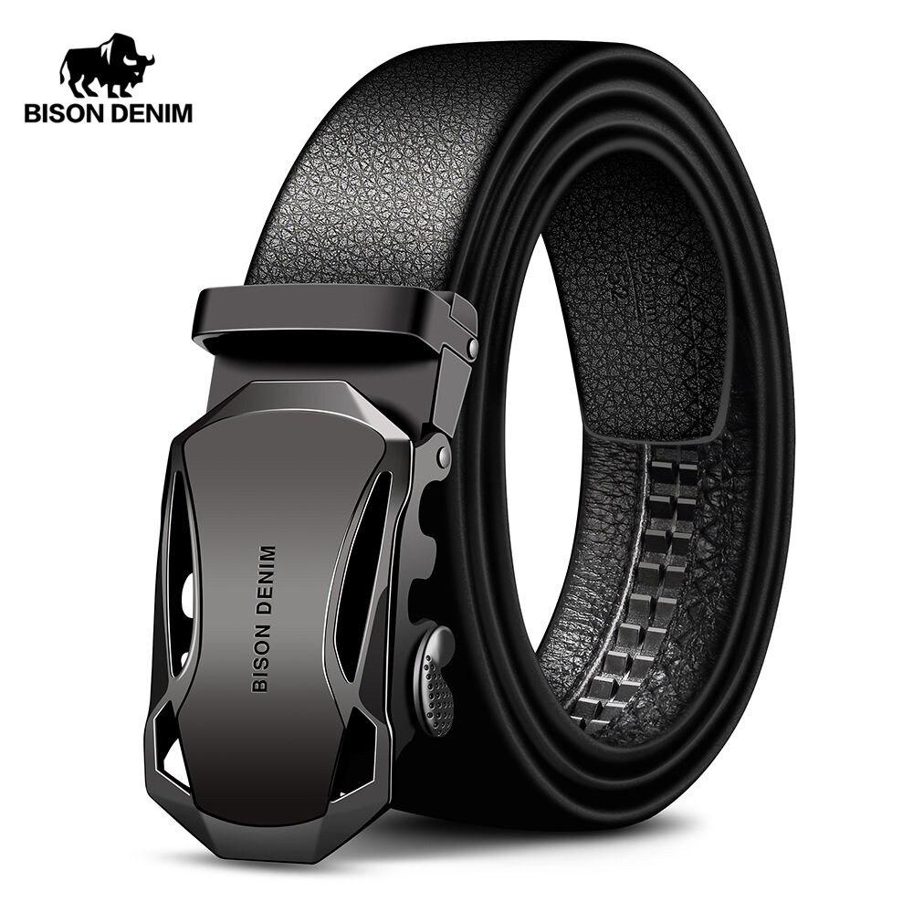 BISON DENIM herren Gürtel Kuh Leder Gürtel Marke Mode Automatische Schnalle Schwarz Echtes Leder Gürtel für Männer 3,4 cm breite N71314