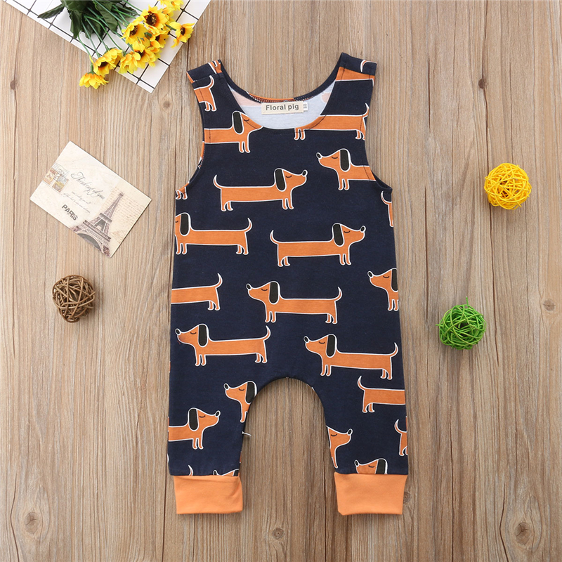Toddler Infant Baby Boy Girl Sleeveless   Romper   Jumpsuit Outfits Clothes Cute Cartoon Dachshund Dogs Pattern