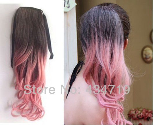 Party Funny Ombre Dip dye Color Wrap around Ponytail Wavy ...