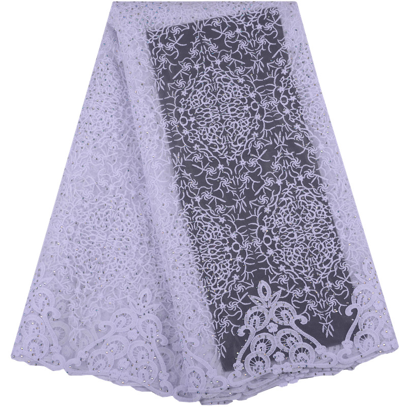 Apparel Sewing & Fabric Latest Pure White French Net Lace High Quality African Tulle Milk Silk Lace Fabric With Stones For Wedding Party Dress S1483 Elegant Shape Home & Garden