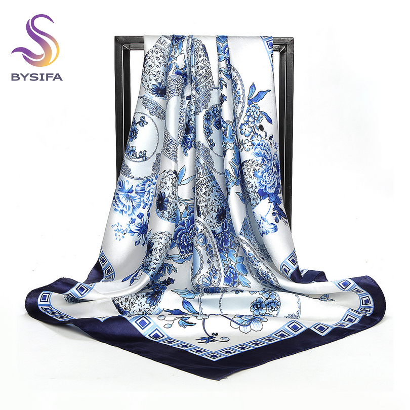 [BYSIFA] China Style Blue White Silk Scarf Cape 2017 New Design Ladies Muslim Head Scarf Printed Fashion Accessories Satin Scarf