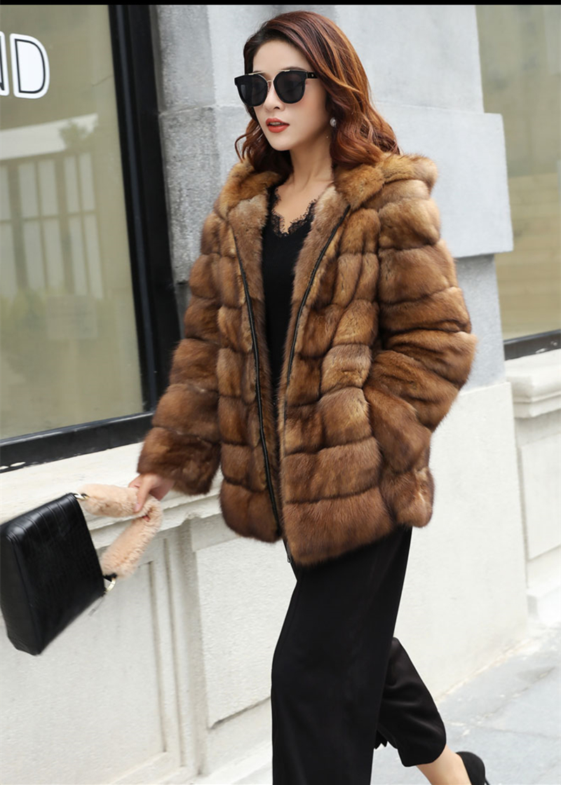Fashion Style Real Sable Whole Mink Fur Women Slim Medium Coat With Hood Martes Zibellina Mink Fur Zipper Jacket Porpular Mink Fur Back To Search Resultswomen's Clothing