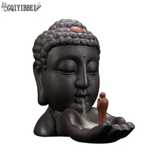 GQIYIBBEI Buddha Head Backflow Incense Burner Creative Home Decor Holder Buddhist Censer Living room teahouse Organizer