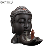 GQIYIBBEI Buddha Head Backflow Incense Burner Creative Home Decor Incense Holder Buddhist Censer Living room teahouse Organizer