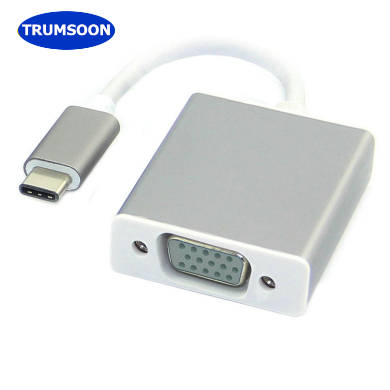 Trumsoon Type C USB-C to VGA Adapter Cable Male to Female Converter for New Macbook 12 inch Chromebook Pixel to Monitor TV