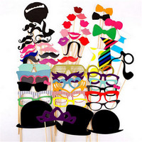 Hot Sale 58PCS Set Funny Photo Booth Props Hat Mustache On A Stick Wedding Favors Birthday