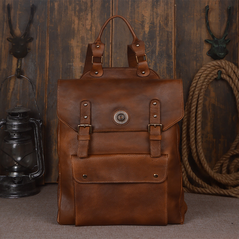 Vintage Manual Crafted Tanned Real Cow Leather Package Head Layer Cowhide Outdoors Travel Computer Laptop Backpacks BagsVintage Manual Crafted Tanned Real Cow Leather Package Head Layer Cowhide Outdoors Travel Computer Laptop Backpacks Bags