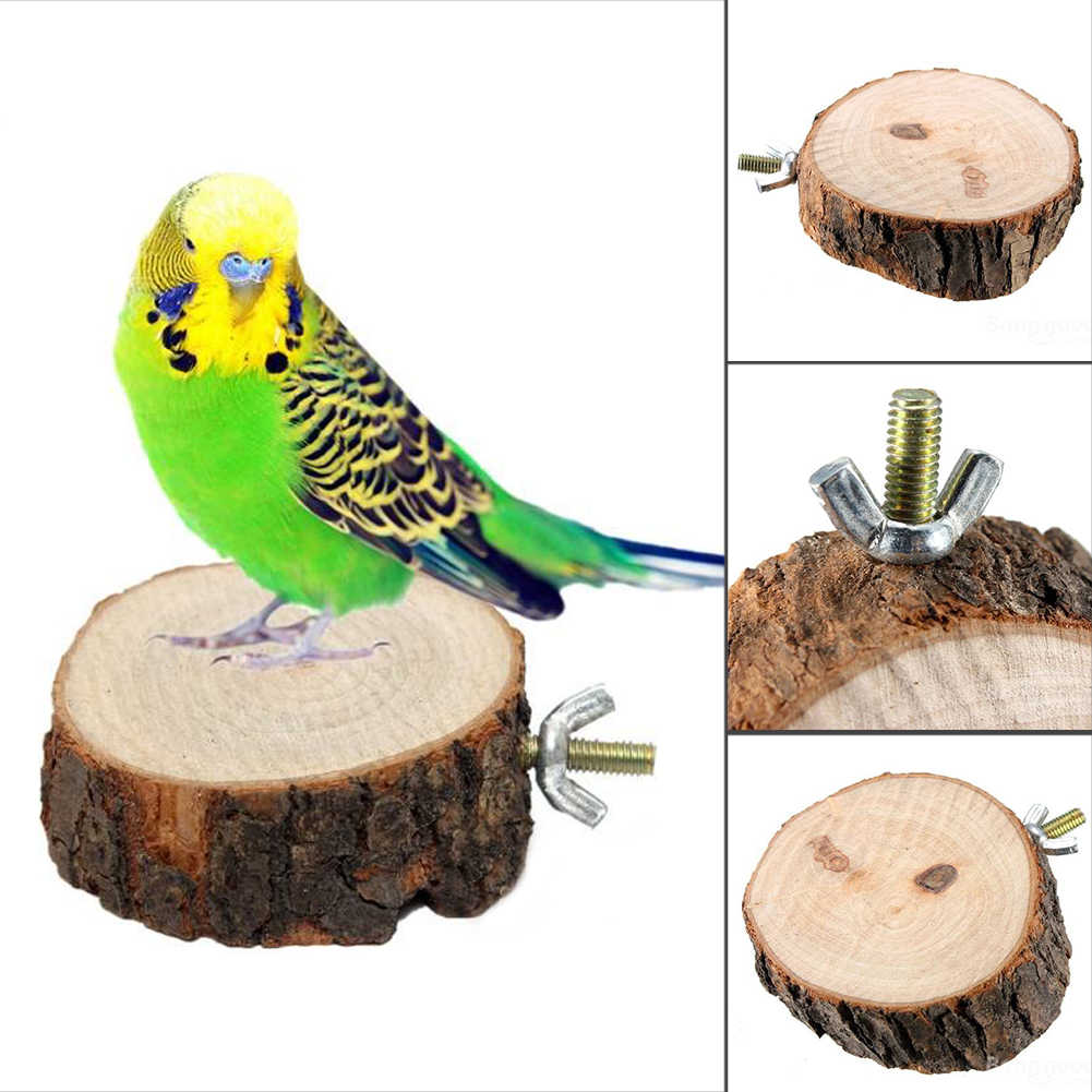 New Parrot Bird Cage Perches Round Wooden Coin Stand Platform Pet Budgie Bird Stand Toy, Diameter 3.2 inch